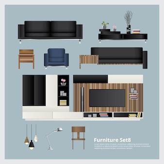 Illustrazione stabilita di vettore della decorazione domestica e della mobilia