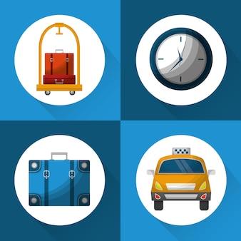 Illustrazione stabilita di vettore delle icone di viaggio di servizio di albergo