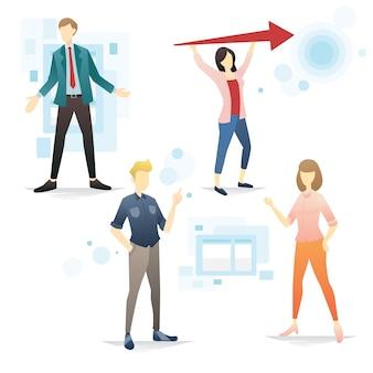 Illustrazione stabilita di vettore di gesto di presentazione della varia gente