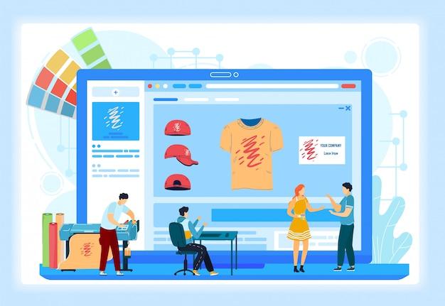 Illustrazione su ordinazione degli schermi di onboarding di servizi online di stampa della maglietta. ordine di stampa tipografica online tipografia.