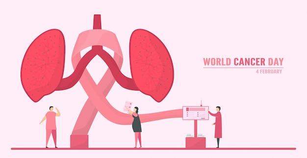 Illustrazione sulla giornata mondiale del cancro. le persone devono aumentare la consapevolezza e l'educazione su questa malattia. il segno di questo giorno è il nastro rosa.