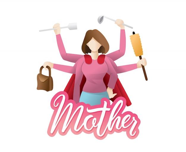 Illustrazione super mamma