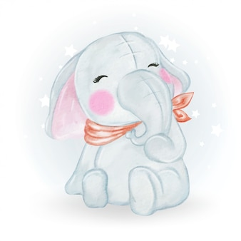 Illustrazione sveglia adorabile dell'acquerello dell'elefante del bambino di kawaii