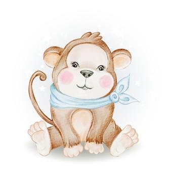Illustrazione sveglia adorabile dell'acquerello della scimmia del bambino