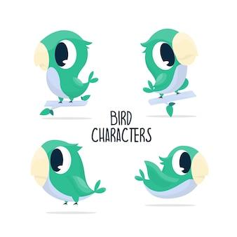 Illustrazione sveglia dei caratteri dell'uccello verde della raccolta