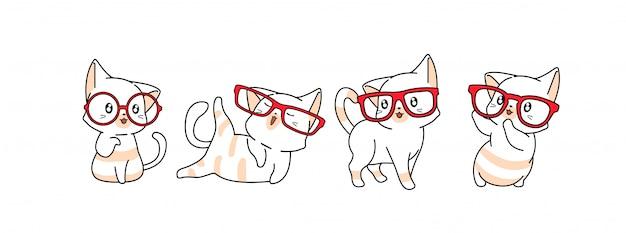 Illustrazione sveglia dei personaggi dei cartoni animati del gatto