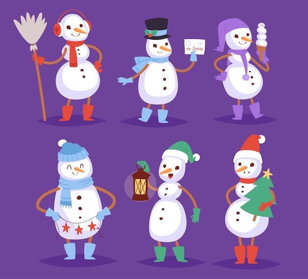 Illustrazione sveglia dei ragazzi e delle ragazze della neve di natale di festa dell'uomo dell'uomo del carattere di natale di inverno del pupazzo di neve sveglio