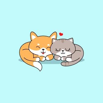 Illustrazione sveglia del cane e del gatto, inu di shiba che dorme con il gatto sveglio