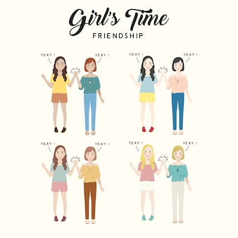 Illustrazione sveglia del carattere di amicizia di tempo della ragazza