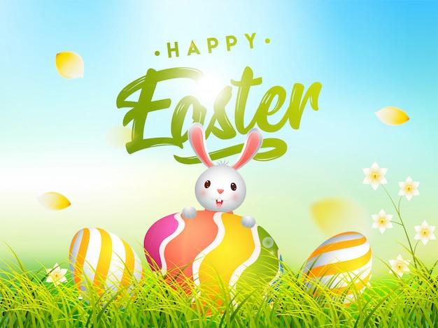 Illustrazione sveglia del coniglietto con le uova di pasqua variopinte nascoste in gras