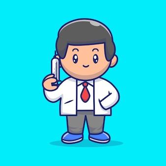 Illustrazione sveglia del dottore with injection icon. personaggio dei cartoni animati di corona mascotte. person icon concept isolated