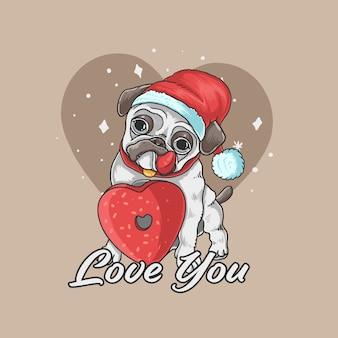 Illustrazione sveglia del fondo di amore del cane del carlino del biglietto di s. valentino