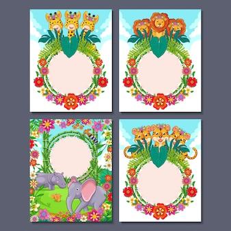 Illustrazione sveglia del fumetto degli animali della giungla per la carta dell'invito del partito o la cartolina d'auguri per il compleanno dei bambini