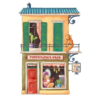 Illustrazione sveglia del fumetto del salone di lavoro di parrucchiere