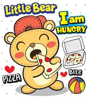 Illustrazione sveglia del fumetto dell'orso piccolo per la maglietta