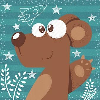 Illustrazione sveglia del fumetto dell'orso sveglio