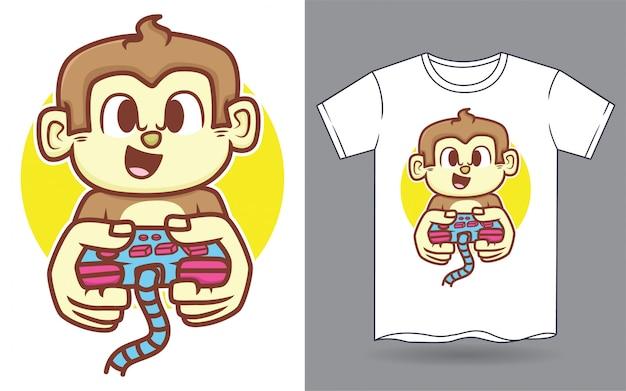 Illustrazione sveglia del fumetto della leva di comando del gioco della tenuta della scimmia per la maglietta