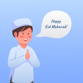 Illustrazione sveglia del fumetto di saluto di eid mubarak del bambino felice