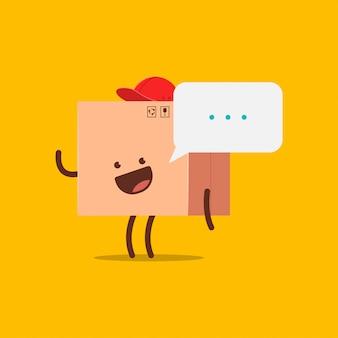 Illustrazione sveglia del fumetto di vettore del carattere della scatola di consegna.