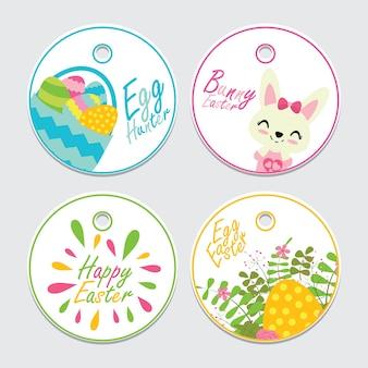 Illustrazione sveglia del fumetto di vettore del coniglietto, dell'uovo e del fiore per l'insieme del cappello a cilindro del bigné di pasqua