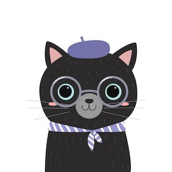 Illustrazione sveglia del gattino per la decorazione della scuola materna