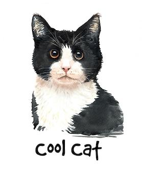 Illustrazione sveglia del gatto nero dell'acquerello.