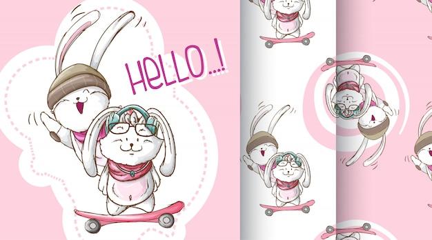 Illustrazione sveglia del modello del coniglietto