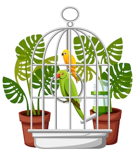 Illustrazione sveglia del pappagallo giallo e verde