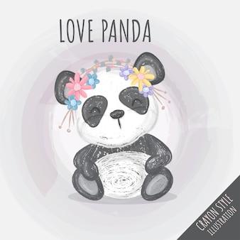 Illustrazione sveglia del pastello dei fiori di panda per i bambini