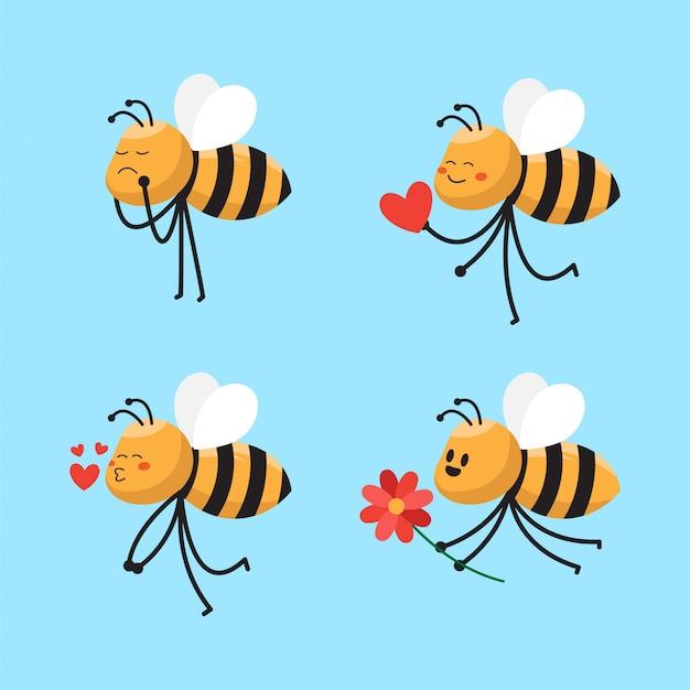 Illustrazione sveglia del personaggio dei cartoni animati dell'ape