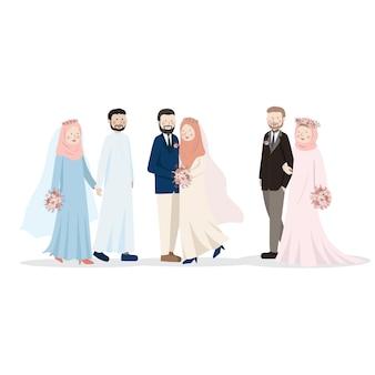 Illustrazione sveglia del personaggio dei cartoni animati delle coppie musulmane di nozze