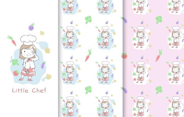 Illustrazione sveglia del piccolo cuoco unico, carta e modello senza cuciture.
