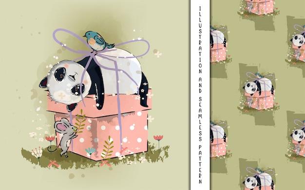 Illustrazione sveglia del piccolo panda per i bambini