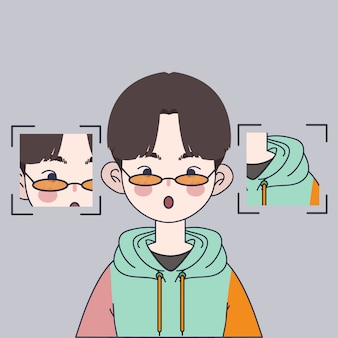 Illustrazione sveglia del ragazzo coreano. illustrazione asiatica bella del ragazzo.