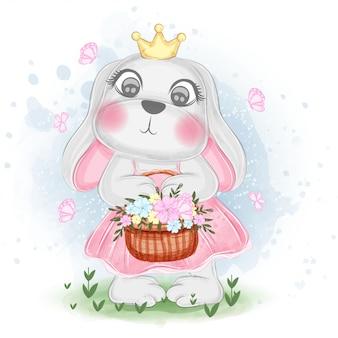 Illustrazione sveglia dell'acquerello del canestro del fiore della tenuta del coniglietto di pasqua