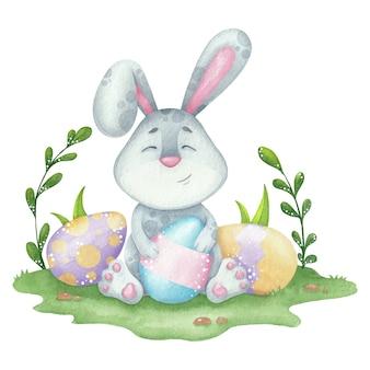 Illustrazione sveglia dell'acquerello del coniglietto e delle uova di pasqua per la carta