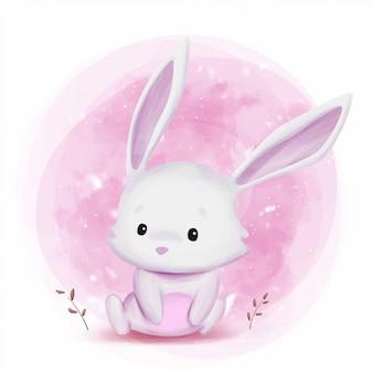 Illustrazione sveglia dell'acquerello del coniglietto