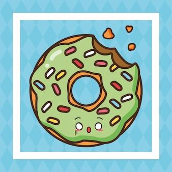Illustrazione sveglia dell'alimento della ciambella verde degli alimenti a rapida preparazione di kawaii