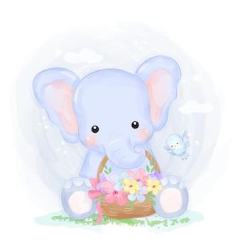 Illustrazione sveglia dell'elefante del bambino
