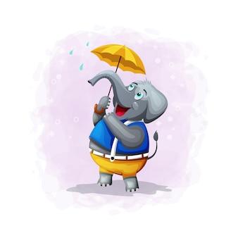 Illustrazione sveglia dell'elefante del fumetto