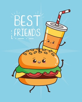 Illustrazione sveglia dell'hamburger e della bevanda degli alimenti a rapida preparazione di kawaii