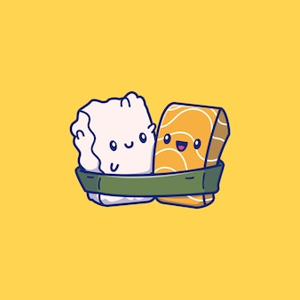 Illustrazione sveglia dell'icona dei sushi. concetto dell'icona dell'alimento del giappone isolato. stile cartone animato piatto