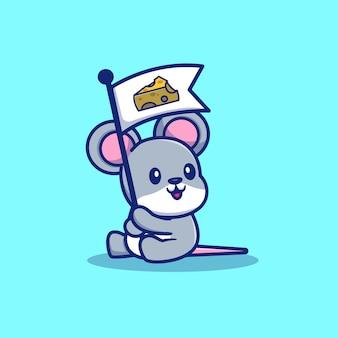 Illustrazione sveglia dell'icona del formaggio della tenuta del topo del ratto. icona animale concetto isolato. stile cartone animato piatto