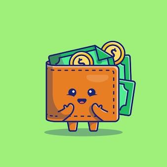 Illustrazione sveglia dell'icona del fumetto dei soldi del portafoglio. concetto dell'icona di finanza e di affari isolato. stile cartone animato piatto