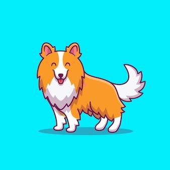 Illustrazione sveglia dell'icona del fumetto del cane di sheltie. icona animale concetto isolato premium. stile cartone animato piatto