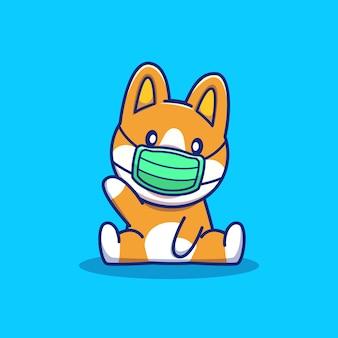 Illustrazione sveglia dell'icona del fumetto della maschera di usura del corgi. personaggio mascotte animale. concetto dell'icona animale di salute isolato