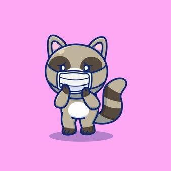 Illustrazione sveglia dell'icona del fumetto della maschera di usura del procione. personaggio mascotte animale. concetto dell'icona animale di salute isolato