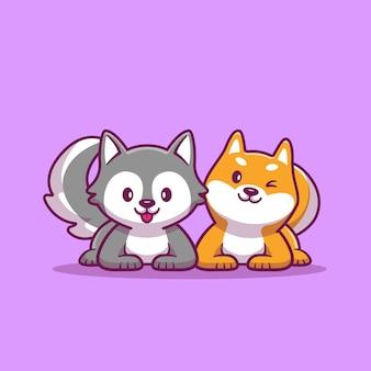 Illustrazione sveglia dell'icona del fumetto di husky and corgi dog. icona animale concetto isolato. stile cartone animato piatto