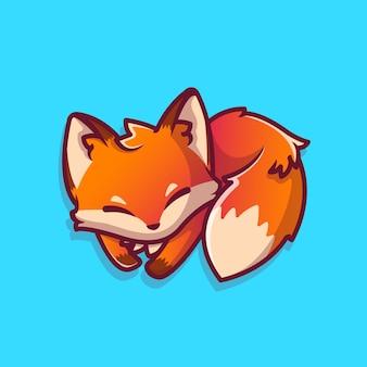 Illustrazione sveglia dell'icona del fumetto di sonno di fox. icona animale concetto isolato premium. stile cartone animato piatto