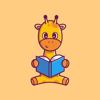 Illustrazione sveglia dell'icona del libro di lettura della giraffa. personaggio dei cartoni animati della mascotte della giraffa. icona animale concetto isolato